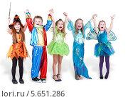 Купить «Счастливые дети в ярких карнавальных костюмах, изолированно на белом фоне», фото № 5651286, снято 29 февраля 2012 г. (c) Losevsky Pavel / Фотобанк Лори