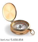 Золотой компас, изолированно на белом фоне. Стоковая иллюстрация, иллюстратор Maksym Yemelyanov / Фотобанк Лори