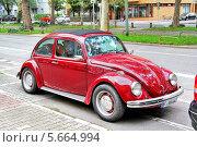 Купить «Красный автомобиль Volkswagen Beetle», фото № 5664994, снято 15 сентября 2013 г. (c) Art Konovalov / Фотобанк Лори