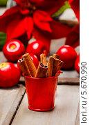 Купить «Маленькое красное ведерко с палочками корицы на деревянном столе», фото № 5670990, снято 21 октября 2018 г. (c) BE&W Photo / Фотобанк Лори