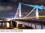 Крымский мост ночью, Москва. Стоковое фото, фотограф Денис Веселов / Фотобанк Лори