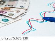 Купить «Российские купюры и диаграмма, нарисованная от руки», эксклюзивное фото № 5675138, снято 3 марта 2014 г. (c) Игорь Низов / Фотобанк Лори
