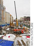 Купить «Строительство на улице Милашенкова в Москве», эксклюзивное фото № 5675202, снято 17 марта 2013 г. (c) Алёшина Оксана / Фотобанк Лори
