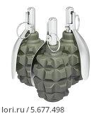 Купить «Три гранаты группой на белом фоне», иллюстрация № 5677498 (c) Александр Степанов / Фотобанк Лори