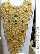 Купить «Колье из золота на витрине магазина. Золотой рынок. Дубай», эксклюзивное фото № 5681102, снято 23 февраля 2014 г. (c) Яна Королёва / Фотобанк Лори