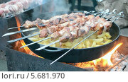 Купить «Шашлык и картошка на сковороде, приготовление на углях», видеоролик № 5681970, снято 2 марта 2014 г. (c) FMRU / Фотобанк Лори
