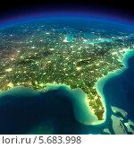 Купить «Ночная земля.Залив Мексики и Флориды», иллюстрация № 5683998 (c) Антон Балаж / Фотобанк Лори