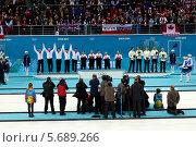 Купить «Награждение медалистов. Керлинг. Сочи. Олимпийские игры 2014», фото № 5689266, снято 22 февраля 2014 г. (c) Корчагина Полина / Фотобанк Лори