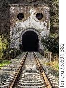 Купить «Заброшенный железнодорожный тоннель», фото № 5691382, снято 9 марта 2014 г. (c) Магадеева Елена / Фотобанк Лори