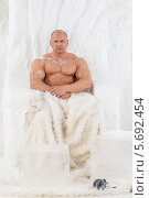 Купить «Мужчина-культурист сидит в кресле  с мехом в студии с искусственным снегом», фото № 5692454, снято 3 октября 2013 г. (c) Losevsky Pavel / Фотобанк Лори