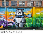 Купить «Граффити медведя - талисмана Олимпиады в Сочи 2014», фото № 5711542, снято 21 июня 2013 г. (c) Голованов Сергей / Фотобанк Лори