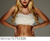 Купить «Молодая женщина с разметкой на теле для пластической операции», фото № 5713826, снято 9 марта 2014 г. (c) Andrejs Pidjass / Фотобанк Лори