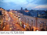 Купить «Вечерний вид улицы Тверская. Москва», фото № 5729554, снято 29 апреля 2013 г. (c) Losevsky Pavel / Фотобанк Лори
