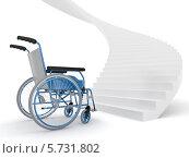 Купить «Инвалидная коляска перед высокой лестницей», иллюстрация № 5731802 (c) Maksym Yemelyanov / Фотобанк Лори
