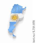 Купить «Трехмерная карта Аргентины, раскрашенная в цвета аргентинского флага, на белом фоне», иллюстрация № 5731970 (c) Maksym Yemelyanov / Фотобанк Лори