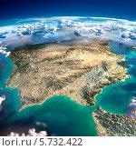 Фрагмент планеты Земля. Испания и Португалия. Стоковая иллюстрация, иллюстратор Антон Балаж / Фотобанк Лори