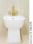 Купить «Чистый и белый биде с позолоченным краном в ванной комнате», фото № 5748078, снято 25 января 2013 г. (c) Losevsky Pavel / Фотобанк Лори