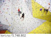 Купить «Альпинисты тренируются на скалодроме», фото № 5748802, снято 5 декабря 2012 г. (c) Losevsky Pavel / Фотобанк Лори
