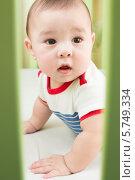 Купить «Портрет маленького мальчика в детской кроватке», фото № 5749334, снято 27 марта 2013 г. (c) Losevsky Pavel / Фотобанк Лори
