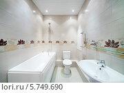 Купить «Чистая ванная комната с туалетом», фото № 5749690, снято 23 ноября 2012 г. (c) Losevsky Pavel / Фотобанк Лори