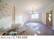 Купить «Просторная комната с окном и люстрой и свежим ремонтом», фото № 5749694, снято 23 ноября 2012 г. (c) Losevsky Pavel / Фотобанк Лори