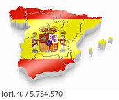 Купить «Объёмная карта Испании с цветами национального флага», иллюстрация № 5754570 (c) Maksym Yemelyanov / Фотобанк Лори