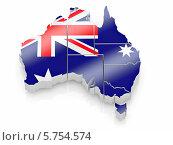 Купить «Объёмная карта Австралии с цветами флага», иллюстрация № 5754574 (c) Maksym Yemelyanov / Фотобанк Лори