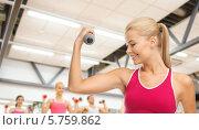 Купить «Привлекательная спортивная девушка согнула руку в локте, выполняя упражнения с гантелью в спортзале», фото № 5759862, снято 23 марта 2013 г. (c) Syda Productions / Фотобанк Лори