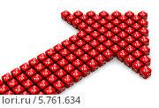 Купить «Стрелка из красных кубиков с надписью 10% на светлом фоне», иллюстрация № 5761634 (c) WalDeMarus / Фотобанк Лори