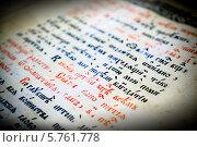 Купить «Страница старой книги с текстом кириллическим шрифтом», фото № 5761778, снято 22 мая 2019 г. (c) ElenArt / Фотобанк Лори