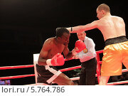 Купить «Балашиха, боксёрский поединок профессионалов на ринге», эксклюзивное фото № 5764786, снято 29 марта 2014 г. (c) Дмитрий Неумоин / Фотобанк Лори