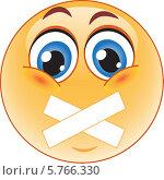Купить «Смайлик с заклеенным ртом», иллюстрация № 5766330 (c) Наталия Попова / Фотобанк Лори