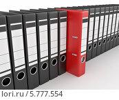 Купить «Красная архивная папка среди черных», иллюстрация № 5777554 (c) Maksym Yemelyanov / Фотобанк Лори