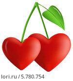 Две вишни в виде сердца на ветке. Стоковая иллюстрация, иллюстратор Alioshin.aleksey / Фотобанк Лори