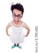 Купить «Смешной мужчина одет в женское платье», фото № 5785682, снято 9 апреля 2013 г. (c) Elnur / Фотобанк Лори