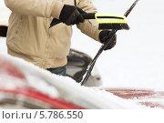 Купить «Водитель очищает от снега щетку-дворник лобового стекла», фото № 5786550, снято 16 января 2014 г. (c) Syda Productions / Фотобанк Лори