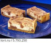 Купить «чизкейк с шоколадом и арахисовым маслом. крупный план», фото № 5793250, снято 16 августа 2018 г. (c) Food And Drink Photos / Фотобанк Лори