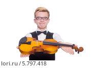 Купить «Молодой музыкант протягивает скрипку», фото № 5797418, снято 18 января 2014 г. (c) Elnur / Фотобанк Лори