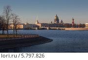 Купить «Панорамный вид на исторический центр Санкт-Петербурга - Исаакиевский собор, Адмиралтейство, Дворцовый мост, Ростальную колонну и реку Неву», фото № 5797826, снято 10 апреля 2014 г. (c) Смелов Иван / Фотобанк Лори