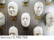 Гипсовые маски известных артистов в музее Мосфильма в Москве (2014 год). Редакционное фото, фотограф Володина Ольга / Фотобанк Лори