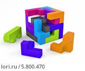 Купить «Кубик из разноцветных блоков. Головоломка», иллюстрация № 5800470 (c) Maksym Yemelyanov / Фотобанк Лори