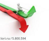 Купить «Человек управляет зеленой стрелкой. Концепция успеха», иллюстрация № 5800594 (c) Maksym Yemelyanov / Фотобанк Лори