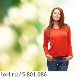 Купить «Привлекательная девушка в красном джемпере», фото № 5801086, снято 27 ноября 2013 г. (c) Syda Productions / Фотобанк Лори