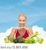 Купить «Здоровое питание. Спортивная девушка и экологически чистые продукты», фото № 5801606, снято 23 марта 2013 г. (c) Syda Productions / Фотобанк Лори