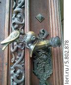 Массивная деревянная дверь с кованной ручкой в виде человеческой головы и клюющей её птицы. Стоковое фото, фотограф Мартынова Наталия / Фотобанк Лори