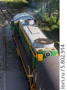 Купить «Товарный поезд», фото № 5802914, снято 2 июня 2012 г. (c) Александр Самолетов / Фотобанк Лори