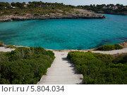 Вид на скалистый берег и залив с лазурной морской водой (2013 год). Стоковое фото, фотограф Олег Прокофьев / Фотобанк Лори