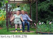 Купить «Счастливая пожилая пара на дачном участке», фото № 5806278, снято 4 августа 2013 г. (c) Игорь Долгов / Фотобанк Лори