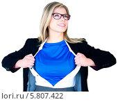 Купить «Businesswoman opening her shirt superhero style», фото № 5807422, снято 18 февраля 2019 г. (c) Wavebreak Media / Фотобанк Лори