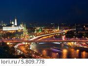 Купить «Панорама ночной Москвы. Вид сверху», фото № 5809778, снято 9 мая 2012 г. (c) Наталья Волкова / Фотобанк Лори